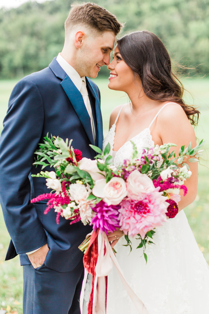 Romantic Autumn Wedding | Pete Dye Golf Club, West Virginia Wedding, Lush, Romantic, Burgundy, Red, Oxblood, Fuschia Flowers by loveshyla.com