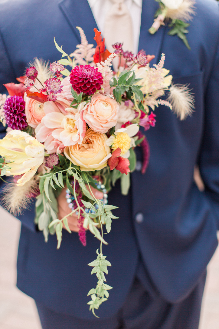 An Ethereal Autumn Wedding | WV Weddings | Autumn colors, theme, vibrant, translucent, soft, apricot, burgundy, rust, bronze, yellow, cream, navy bridal bouquet, flowers | Florals by Loveshyla.com