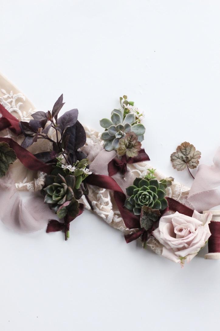 An Elegant Dark & Moody Toned Wedding | Black, Plum, Oxblood, Burgundy, Purple Theme with Artichoke, Winter, Fall, Outdoor Wedding | Florals by Loveshyla.com
