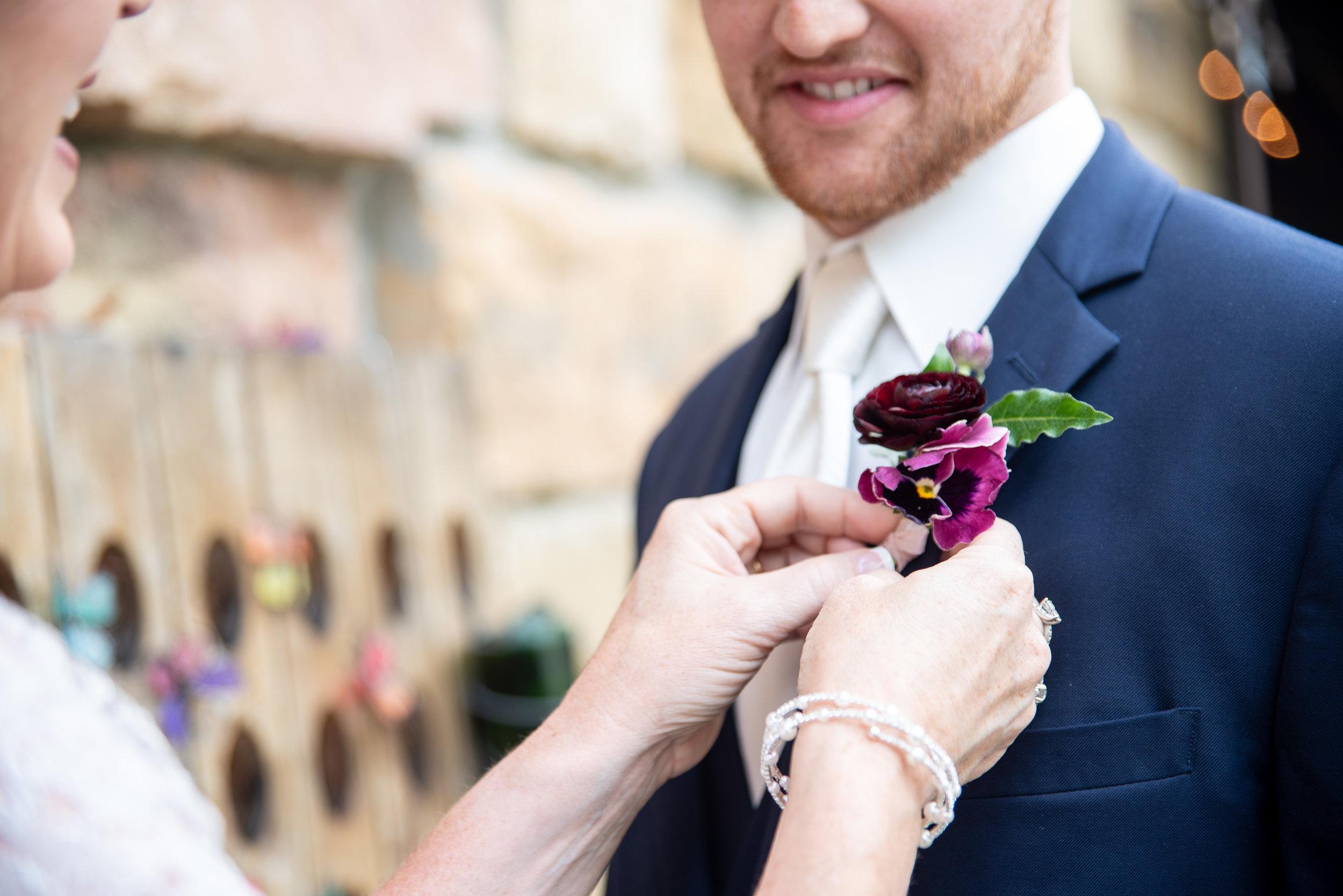 Wine Inspired Vintage Wedding | burgundy, fuchsia, deep wine jewel toned wedding flowers. Lush, natural, boutonniere |  Loveshyla.com