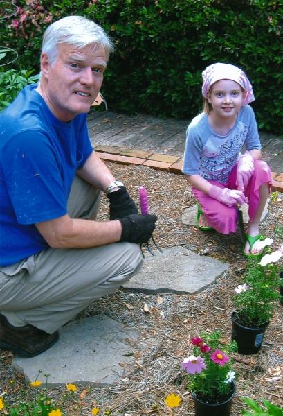 GrandDad and Katie gardening