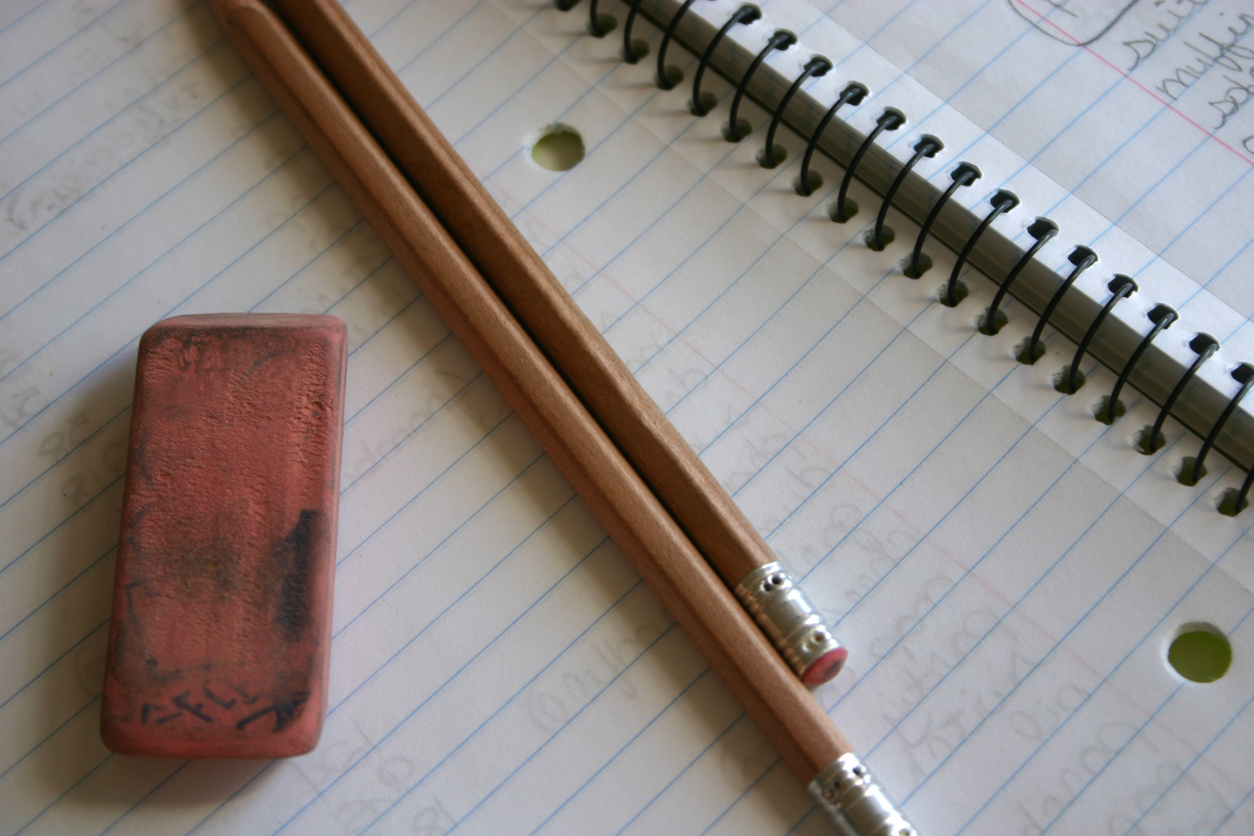 pencil eraser notebook