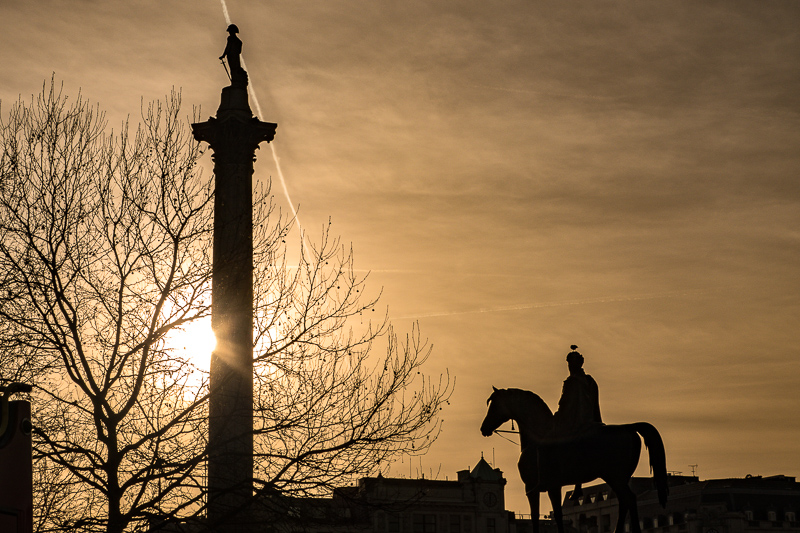 Nelson and King George IV. Late afternoon in the square. Follow along at www.damclark.com #damclarktravels