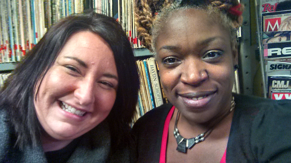 Melanie with client and friend Vanessa Gay before speaking on a radio program.