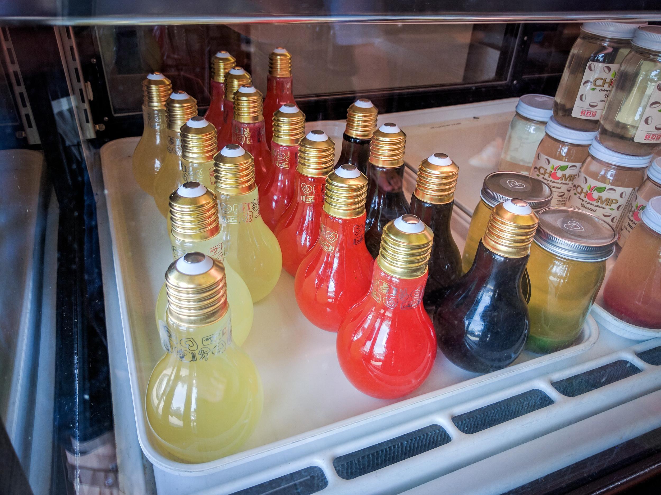 Juice bottles in the shape of light bulbs. Neat.