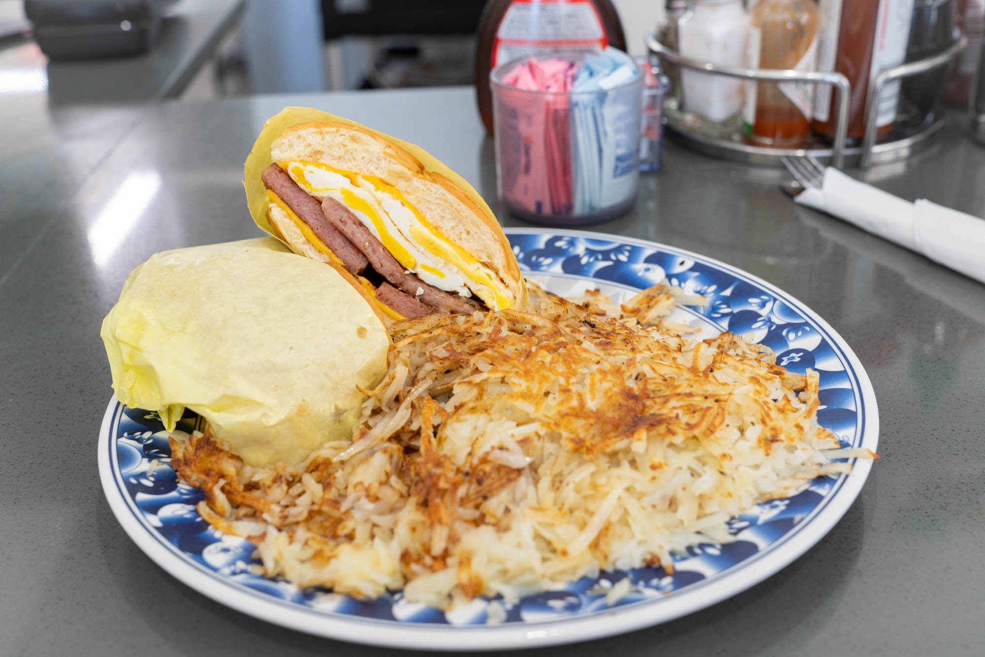 Breakfast Sandwich with Spam and hash browns