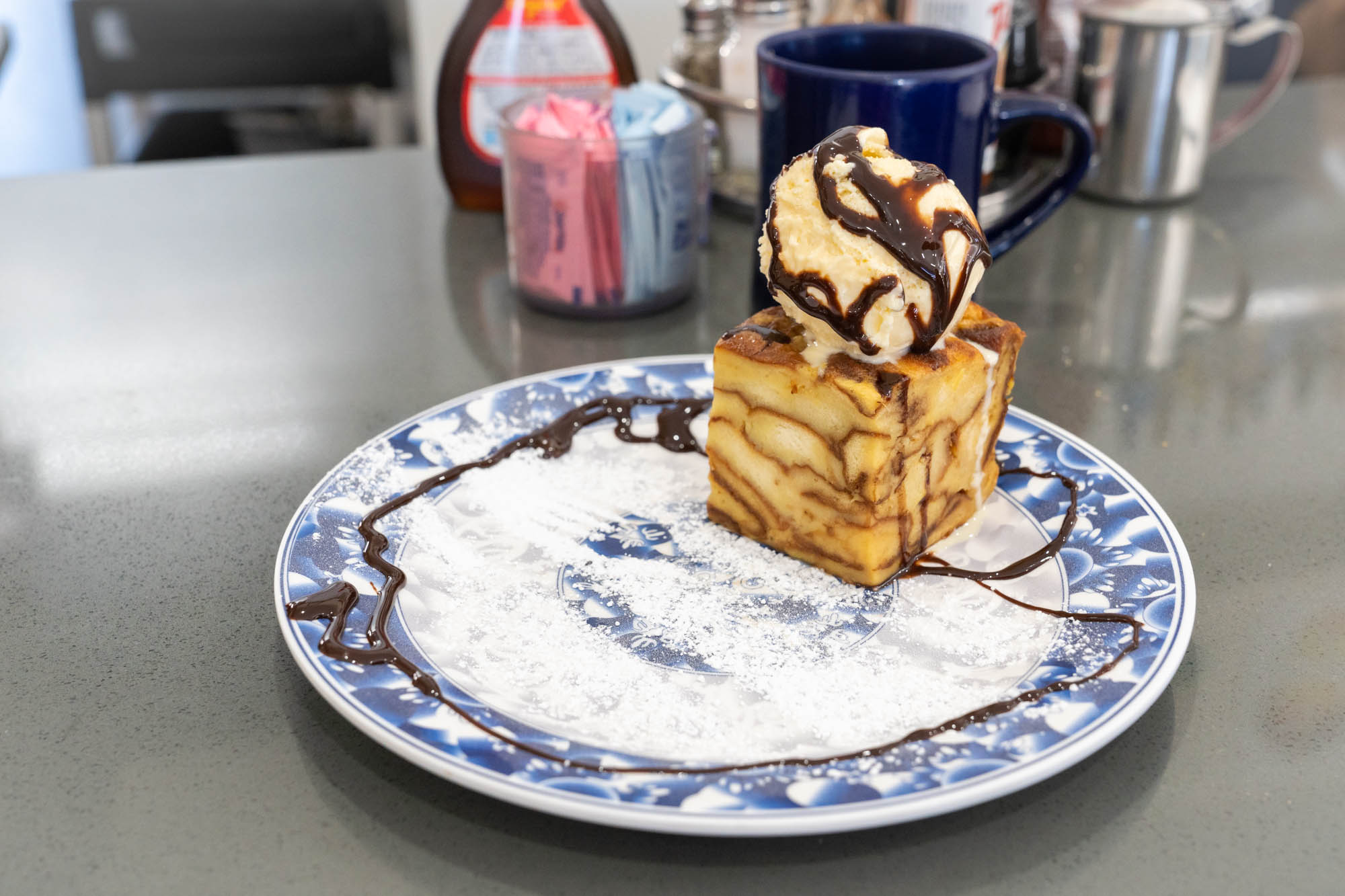 Pineapple Bread Pudding with vanilla ice cream