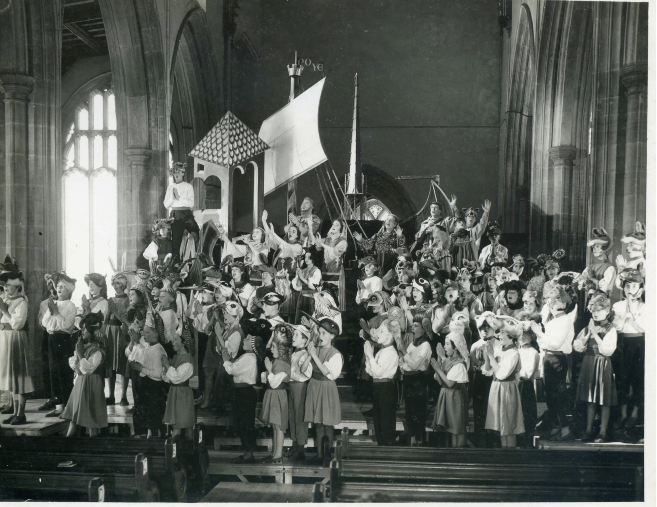 The 1959 production of Noye's Fludde at St. Margaret's Church, Lowestoft