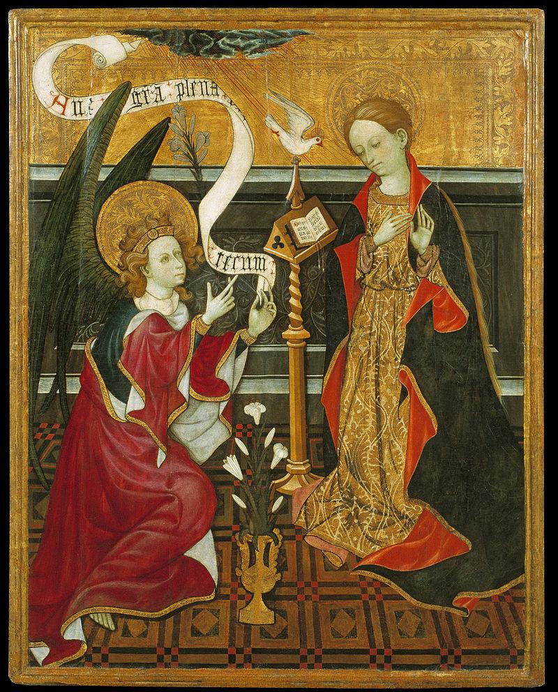 Annunciation, work by unknown artist, c. 1420,Museu Nacional d'Art de Catalunya,Barcelona