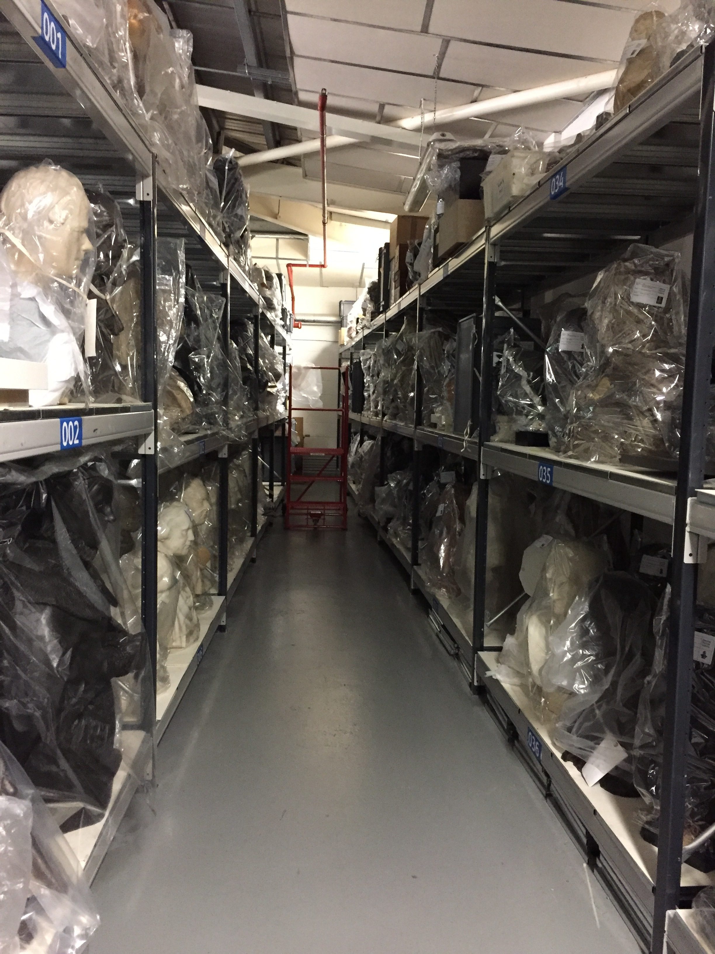Avenue of heads at the National Portrait Gallery archive, London