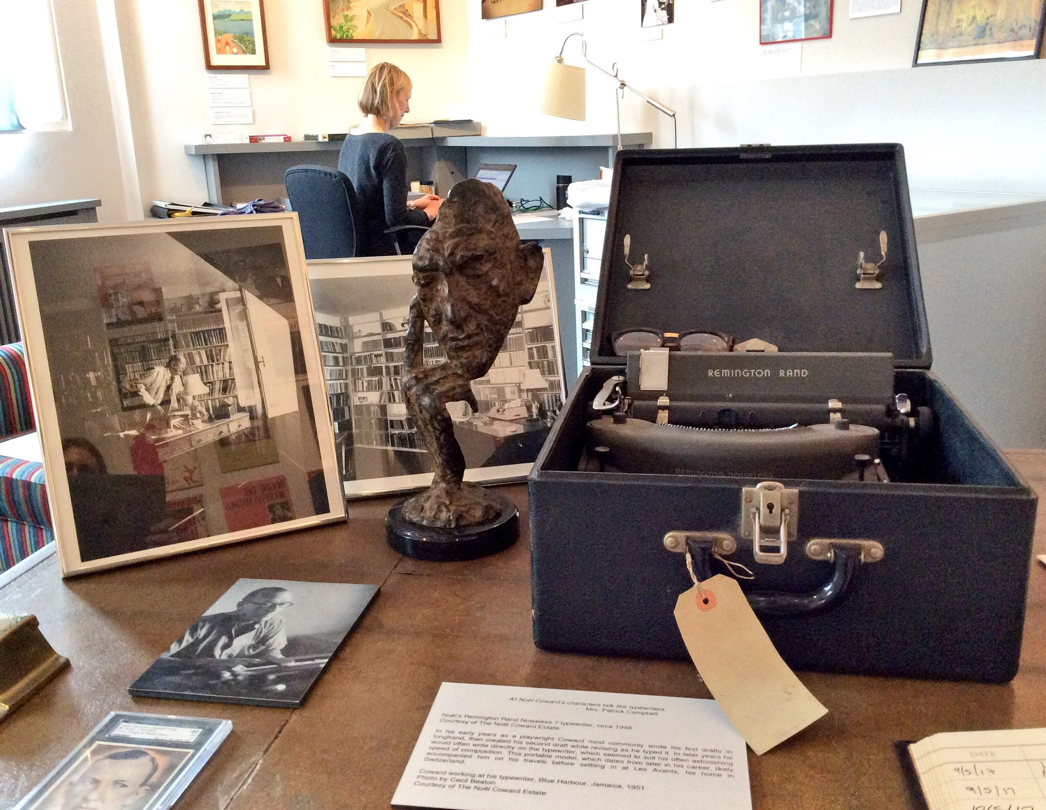 Zeb's bronze on Coward's own desk at the Noel Coward Room