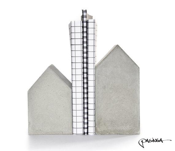 Concrete House Bookend Set by PASiNGA/Etsy - £45