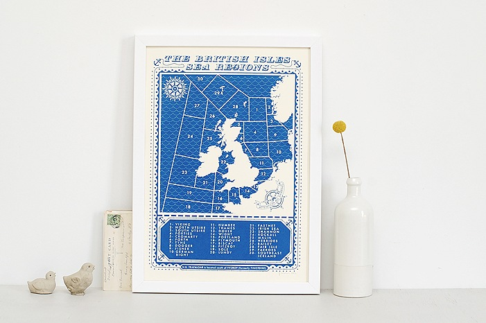 Viking Shipping Forecast Screen Print by James Brown/The Calm Gallery - £35