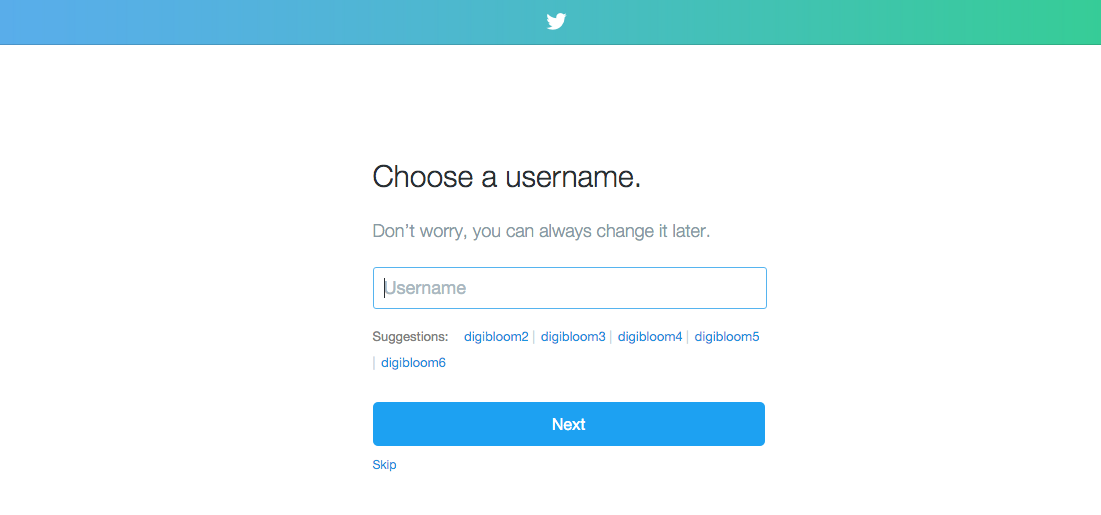 Twitter sign up process for beginners