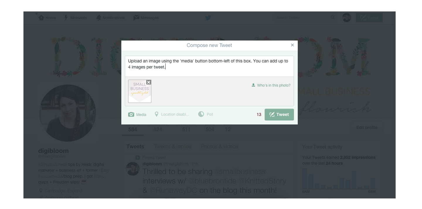 How to add images to a tweet.