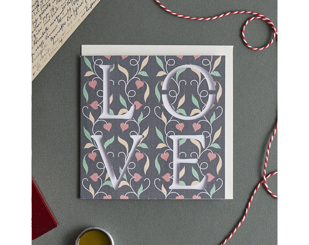 Floral love card by The Kat and Monocle