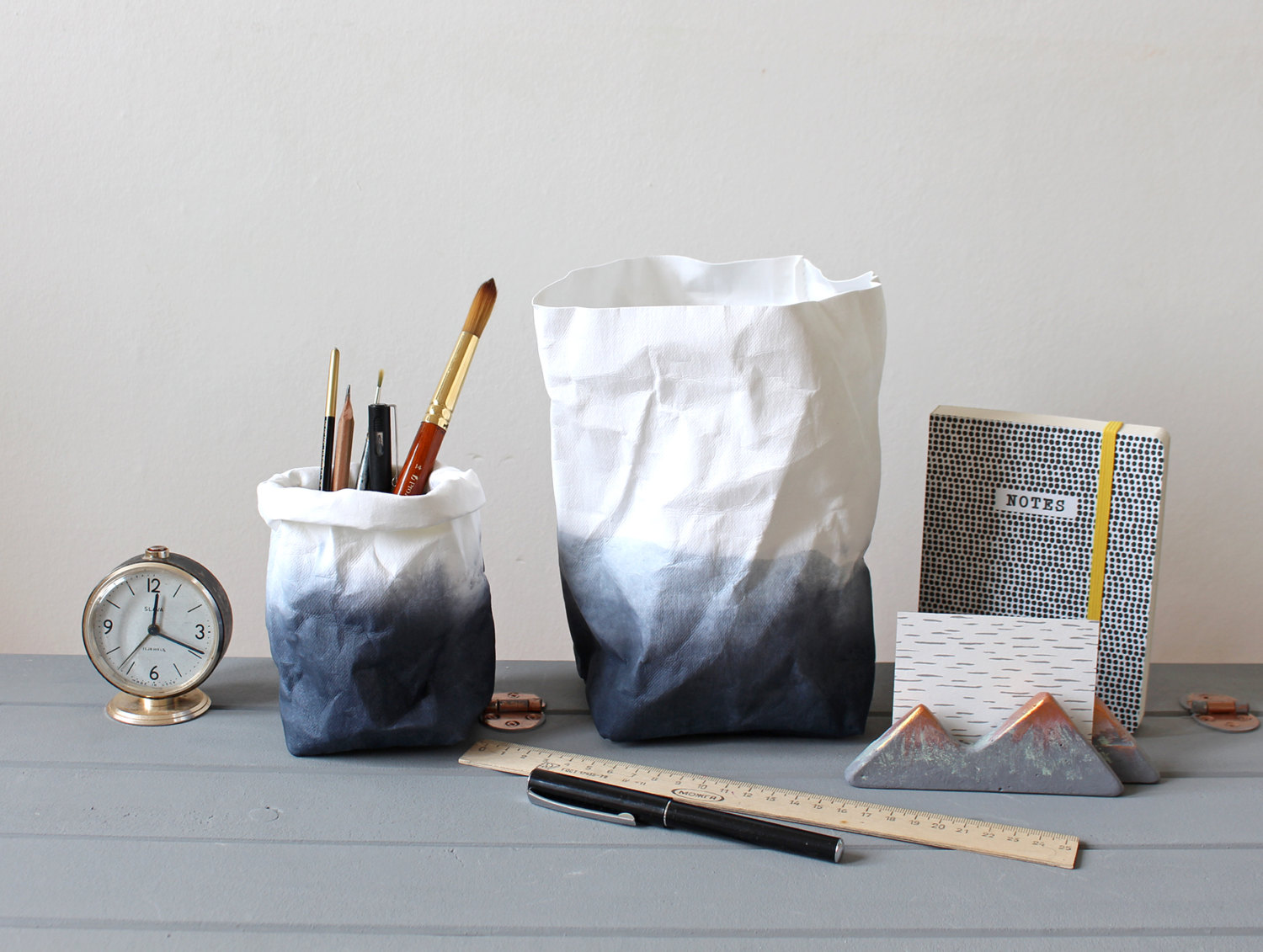 Charcoal ombre washable paper bag by WarmGreyCompany
