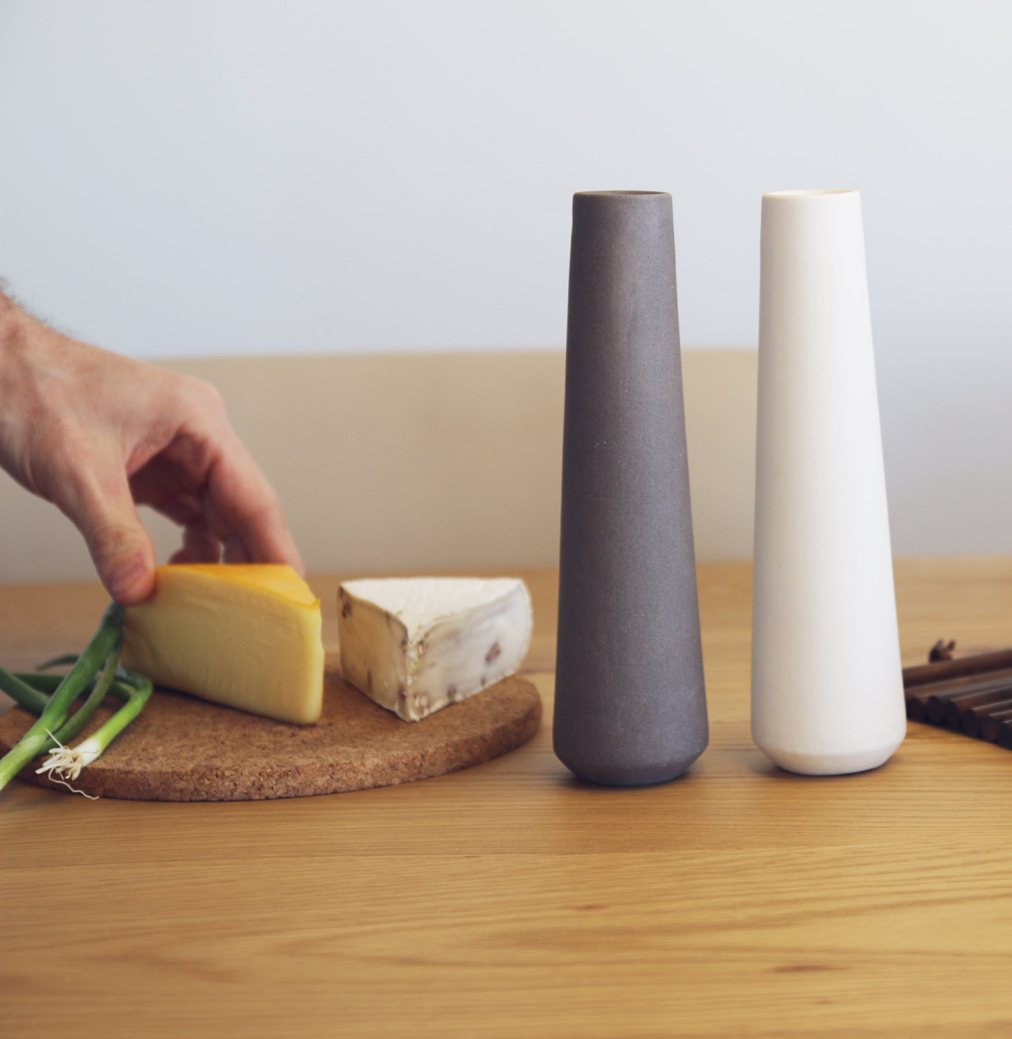 Modern design ceramic salt and pepper shakers by Yahalomis