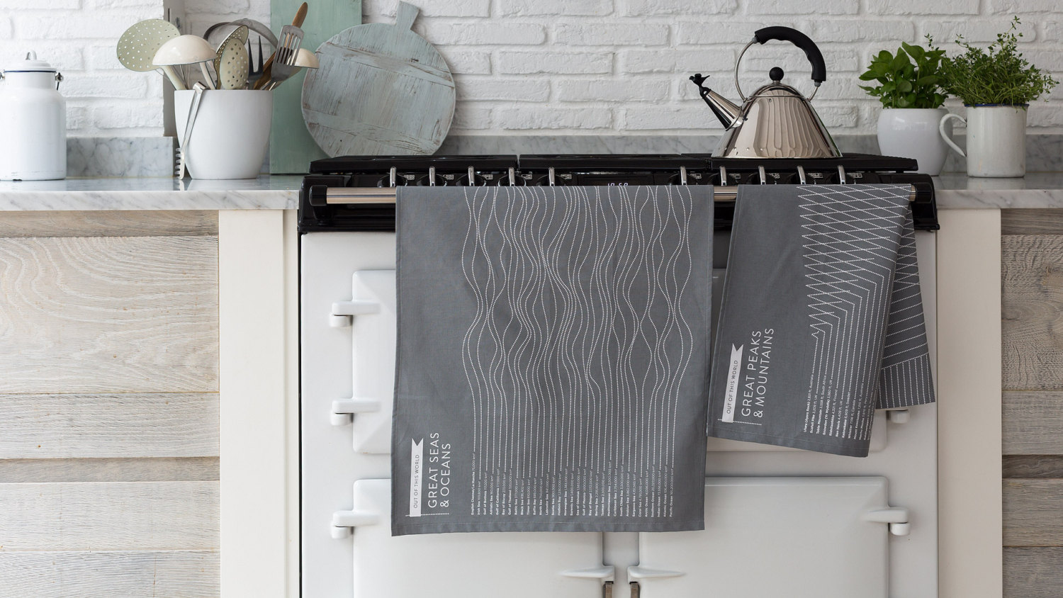 Great peaks and mountains tea towel by Boldandnoble
