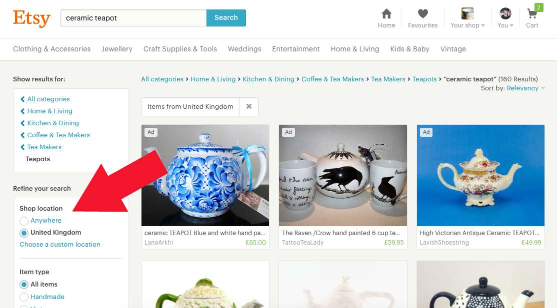 How to find UK shops and sellers on Etsy - filter by country