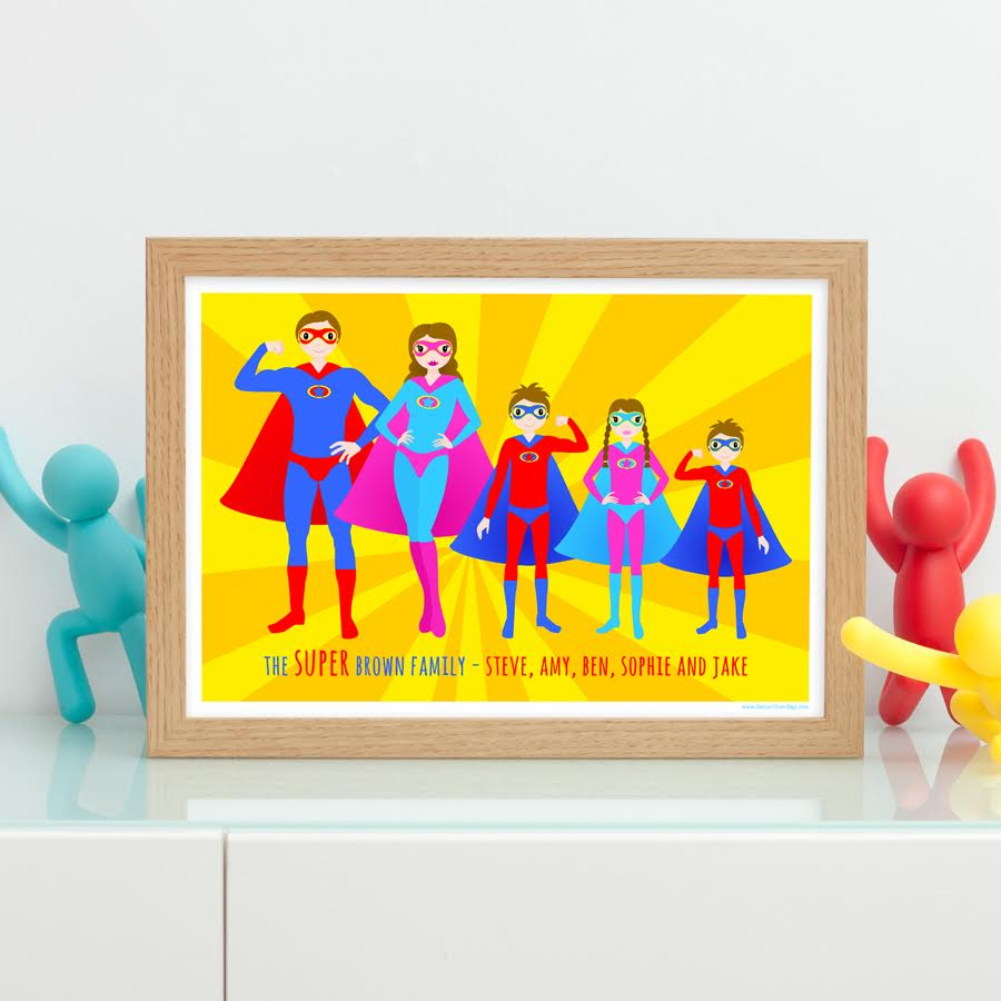 Colour Their Day giveaway - win a personalised superhero family print featuring your family!