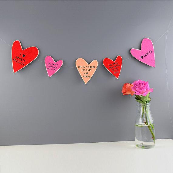 Custom heart garland