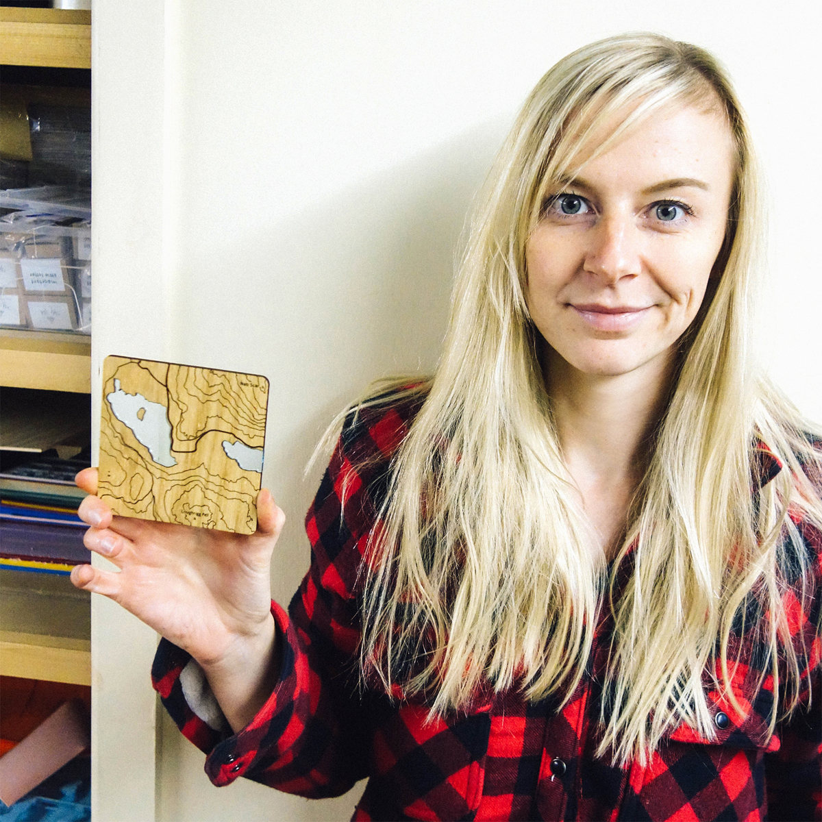 Debs Slater of Alp and Ash with one of her topographic coasters