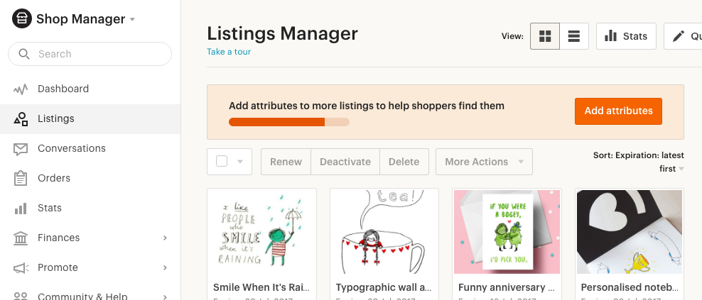 Etsy attributes tool in shop manager