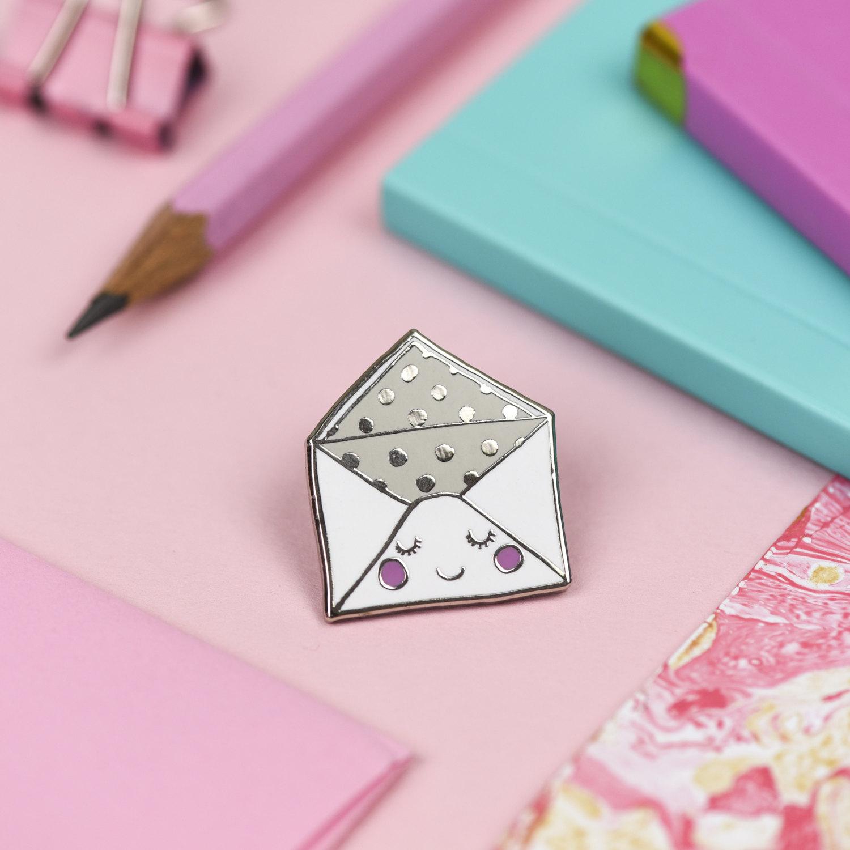 Envelope pin badge