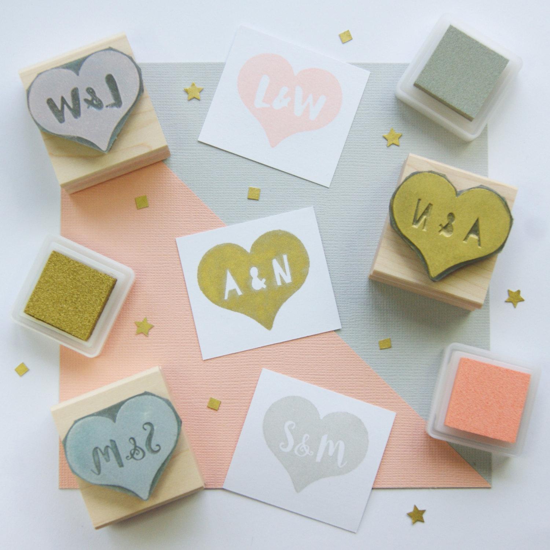 Custom heart rubber stamps