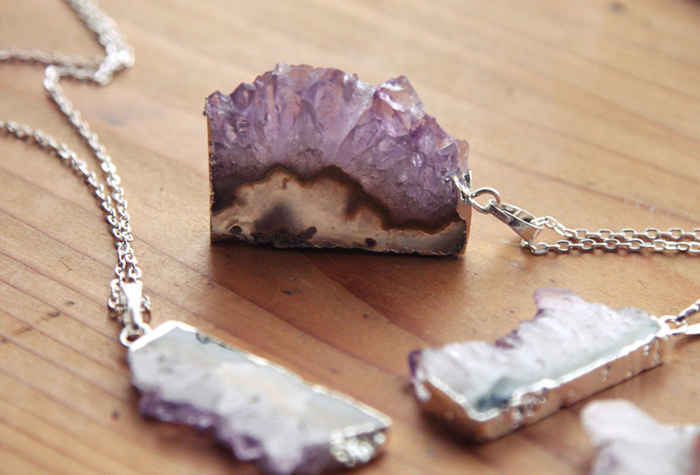 Amethyst & silver necklace