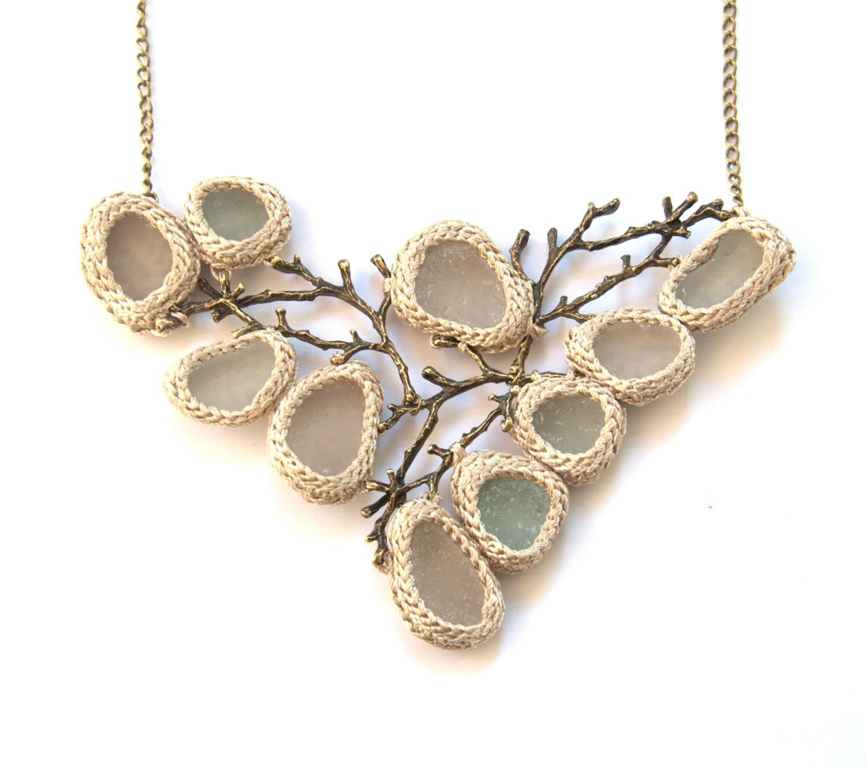 Sea glass twig necklace