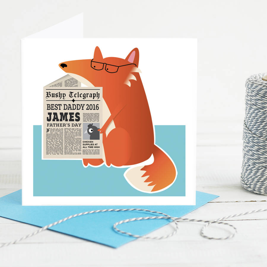 Personalised fox card for Dad