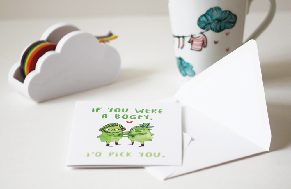 "Etsy title: ""Funny anniversary card. I love you card for boyfriend or girlfriend. Card for husband, wife, him or her. If you were a bogey, I'd pick you!"""