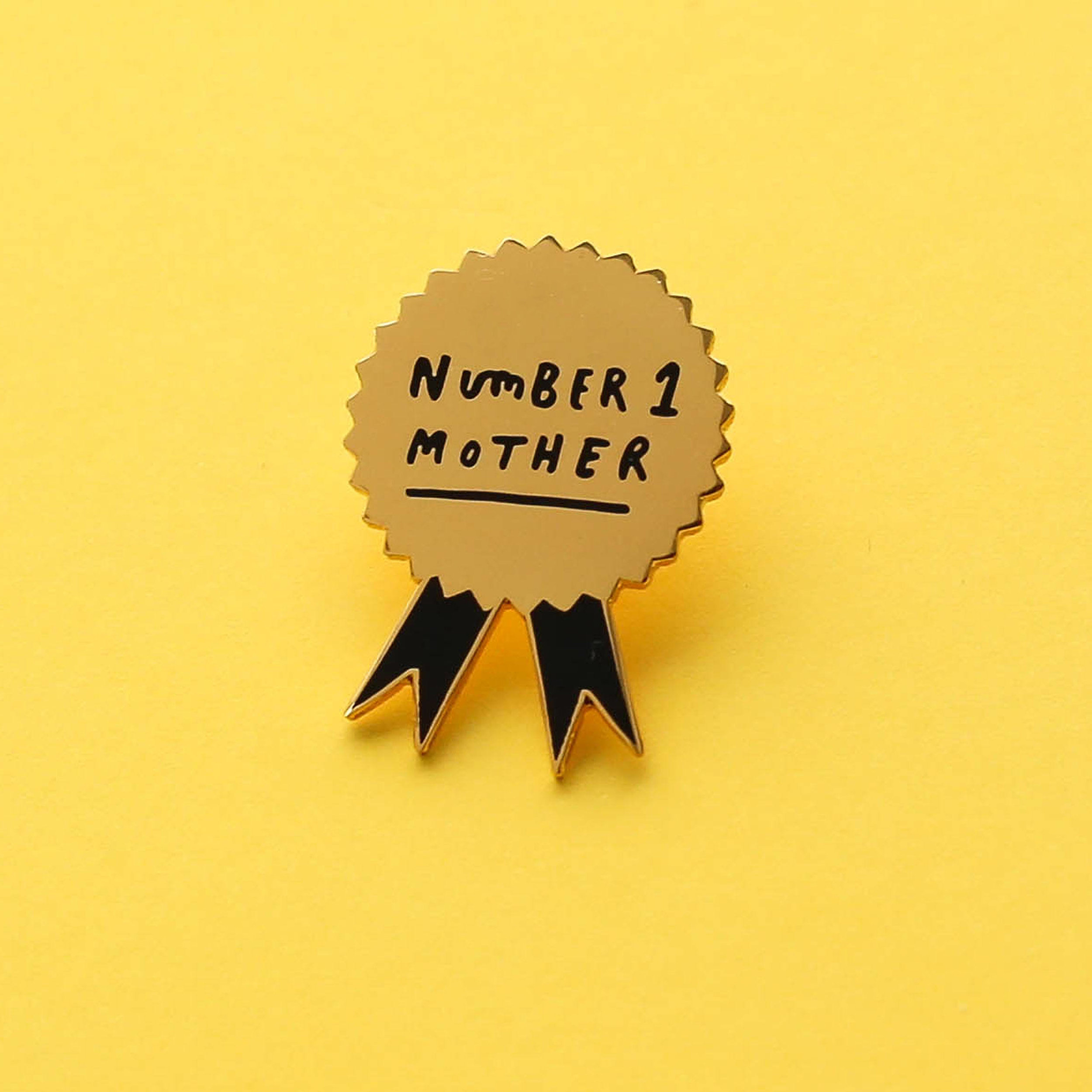 Number 1 Mother enamel pin badge by  OldEnglishCo