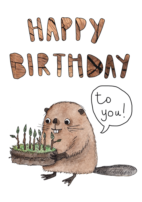 Happy birthday beaver card