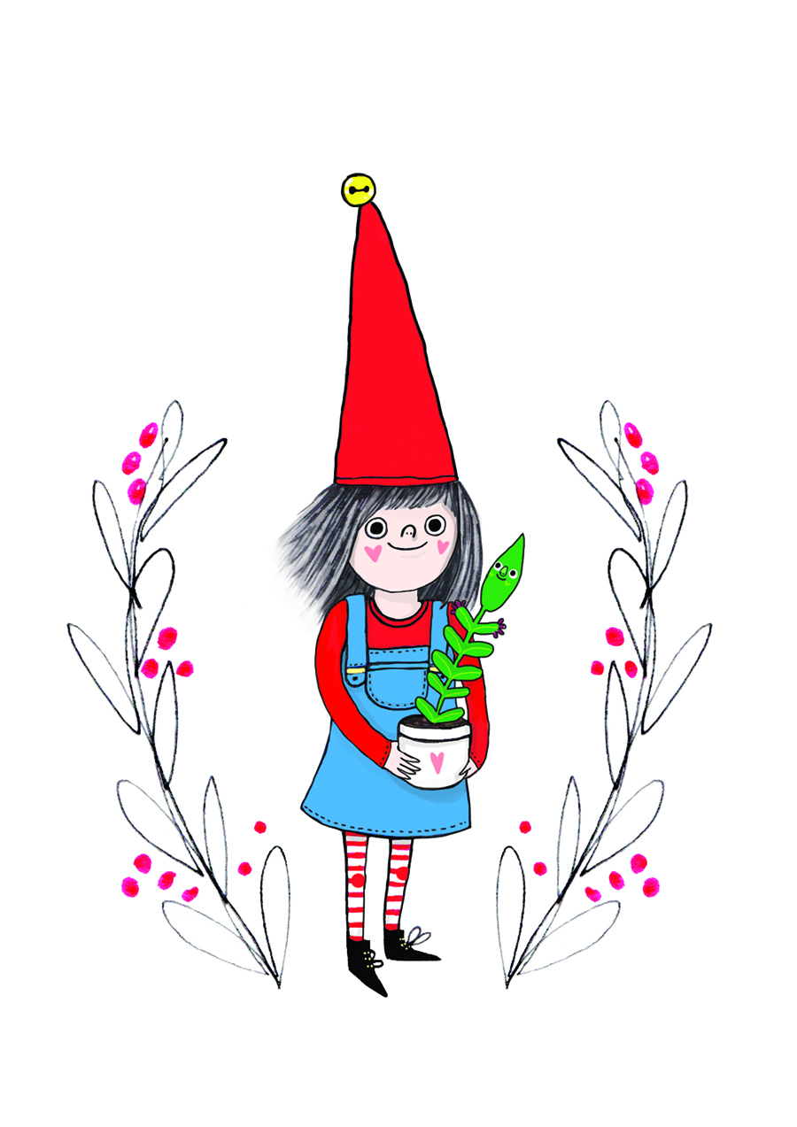 Gardening elf Christmas card