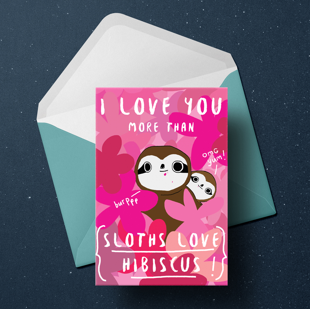 Sloth valentine's card