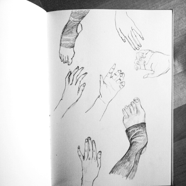 Life drawing hands and feet