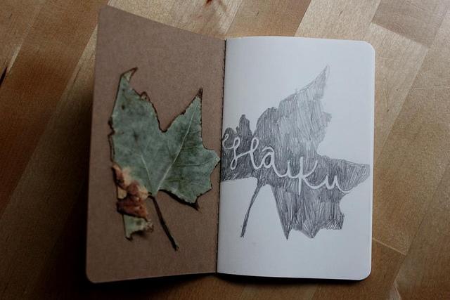 Haiku leaf journal by Heidi Burton