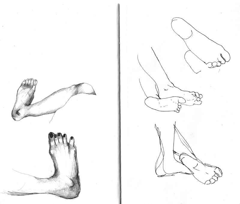 Observational drawings of feet