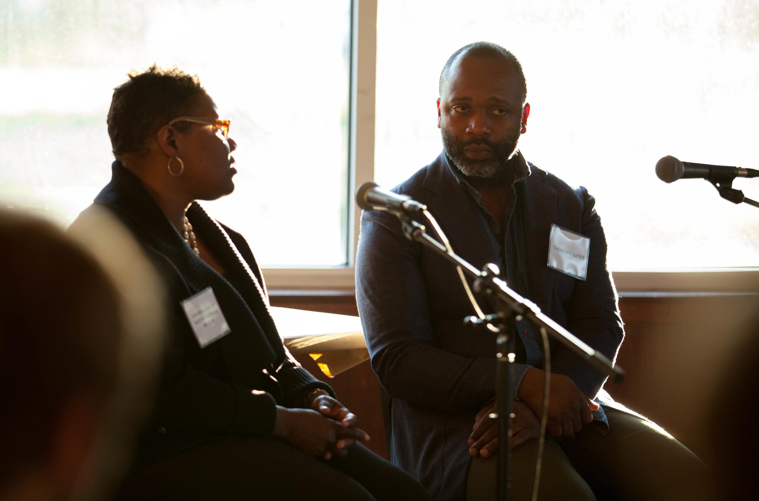 Mayor Karen Wilson-Freeman and Theaster Gates in conversation