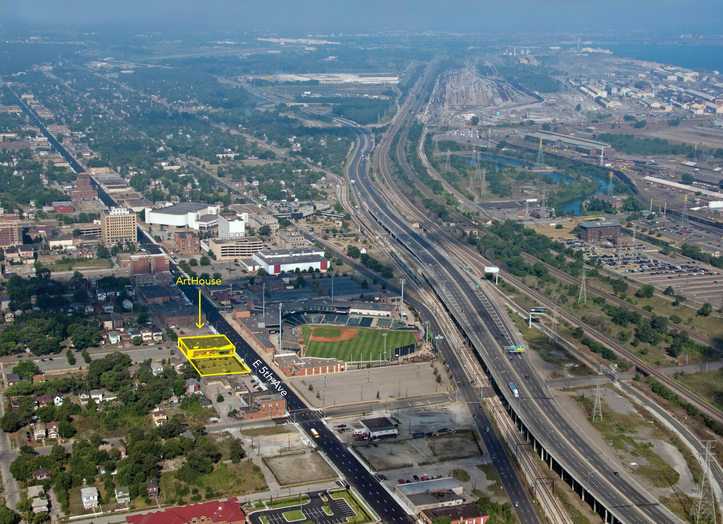 An aerial view of downtown Gary