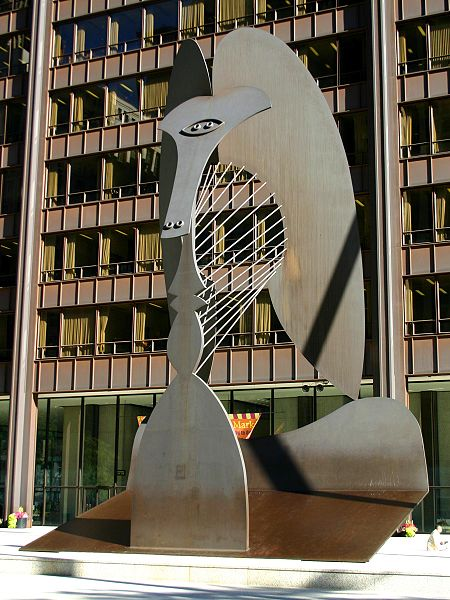 The Chicago Picasso, an untitled monumental sculpture by Pablo Picasso sited at Daley Plaza in Chicago, Illinois. Photo by J. Crocker.