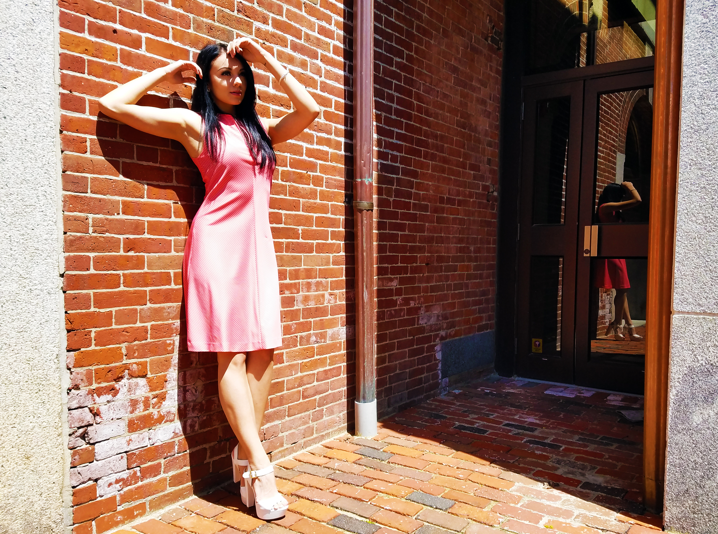 pink dress, white heels, makeup, boston blogger, LifeOfArdor