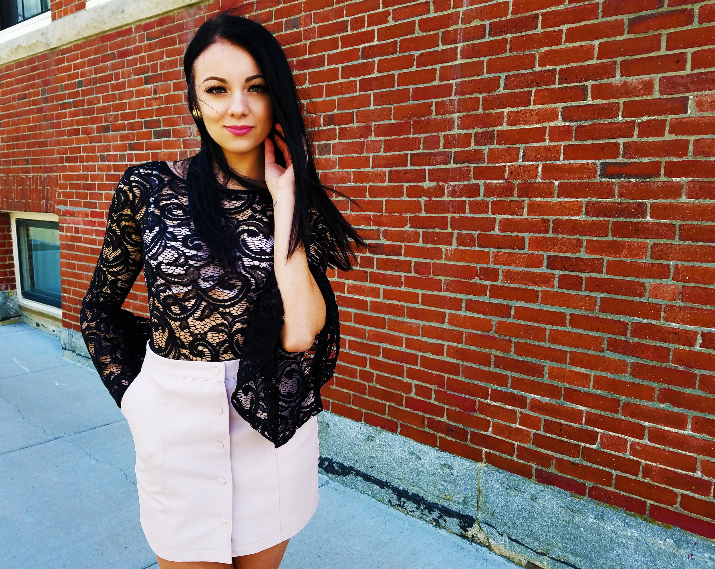 belle sleeves leather skirt pink heels pink lips lace bodysuit blogger
