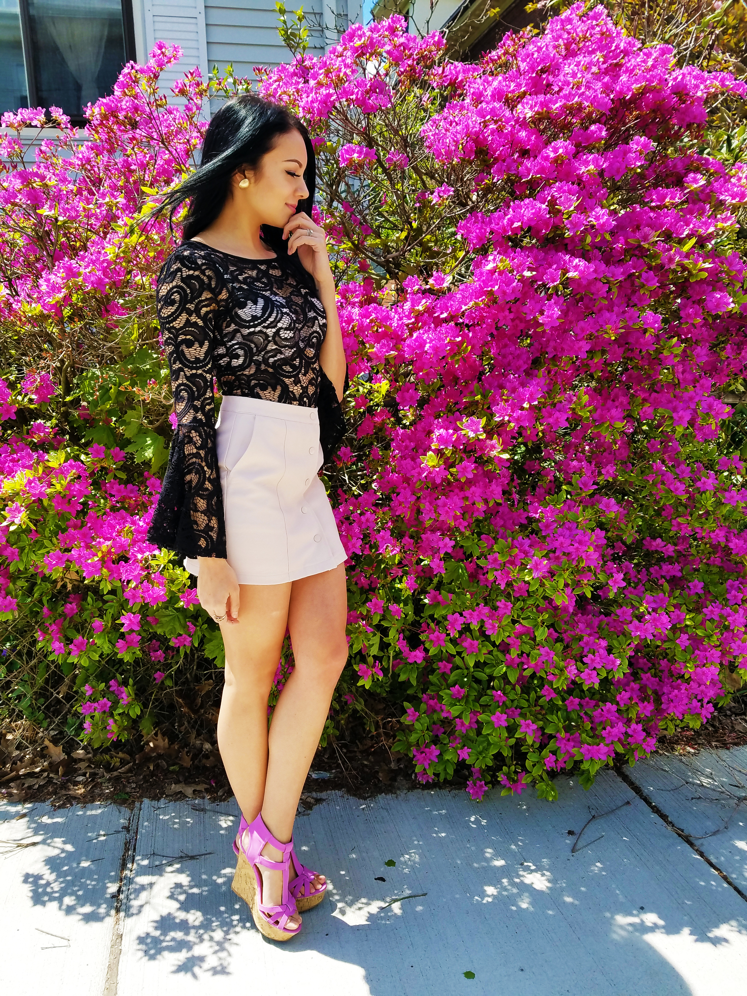 lace top lavender heels blogger fashion trend belle shape sleeves bodysuit leather skirt boston