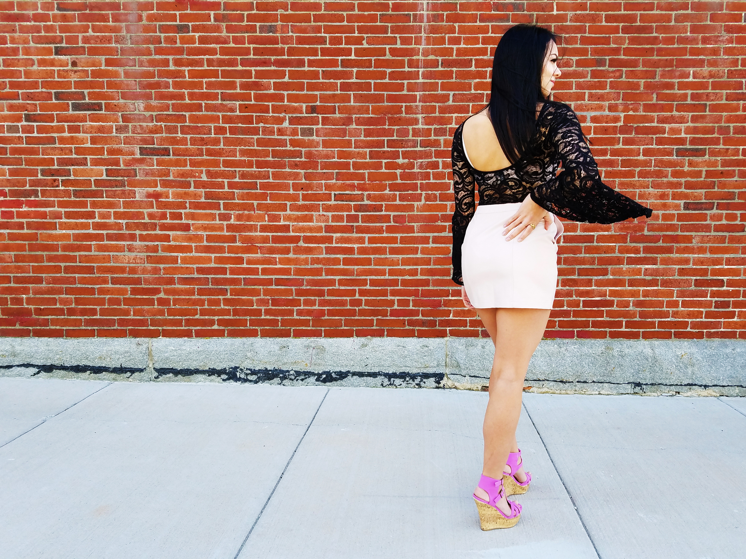lavender heels outfit lace bodysuit bell sleeves leather skirt boston blogger