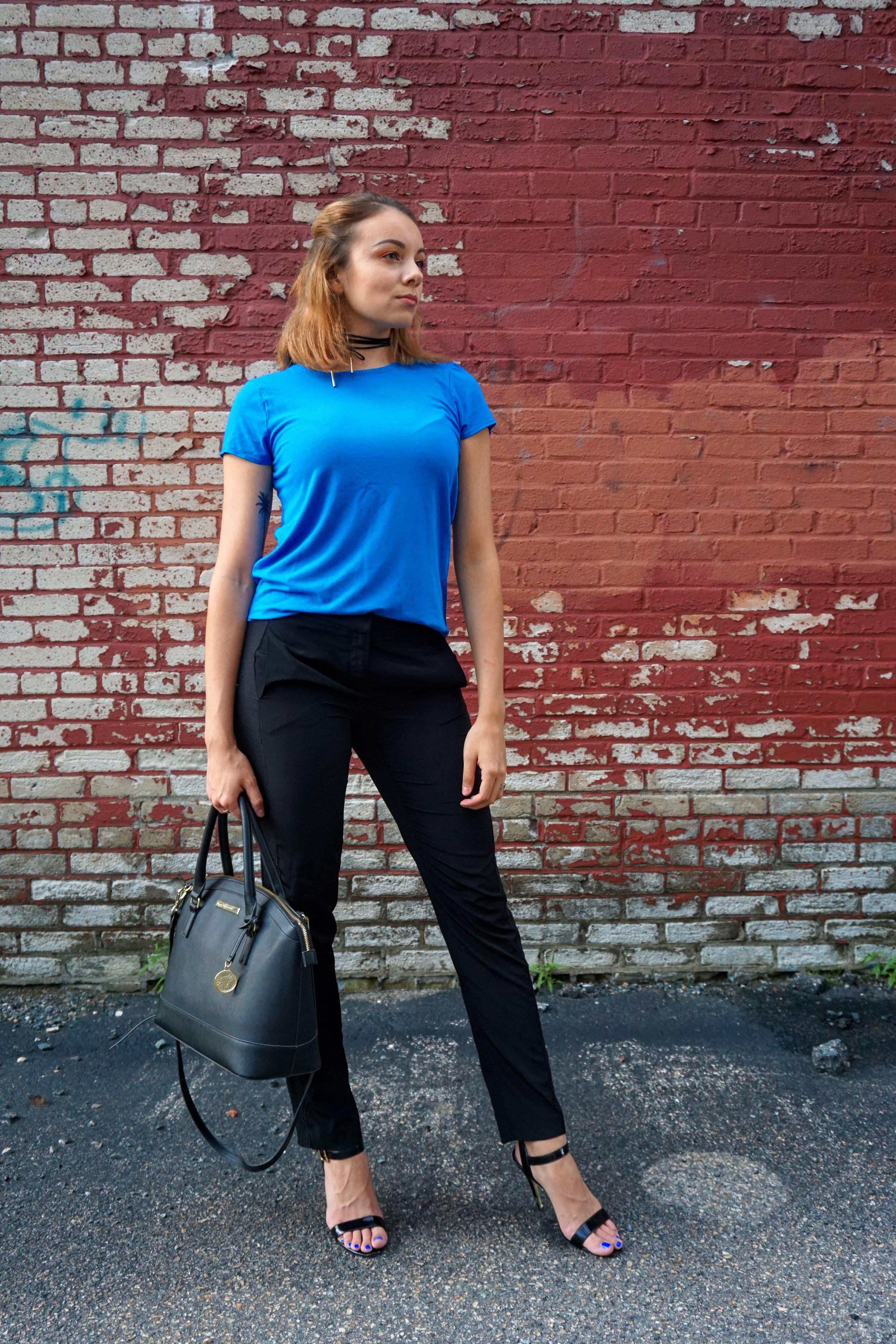 Outfit inspiration: blue top, black pants, black high heel sandals, medium size black purse, black choker, dark blue nail polish.