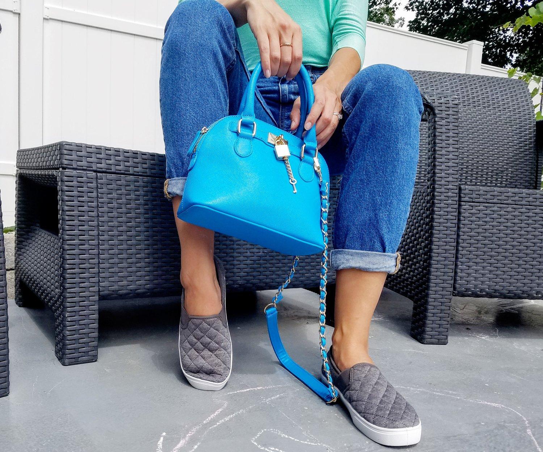 Gray slip-ons: wardrobe essentials.